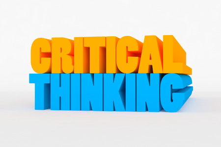 critical thinking: Big 3D text on white background with soft shadow. Critical thinking in blue and yellow color on white background.