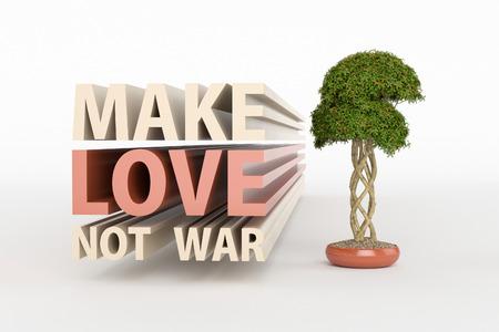 hacer el amor: mensajes de motivación - haga el amor y no la guerra con el árbol bonsai pequeño.
