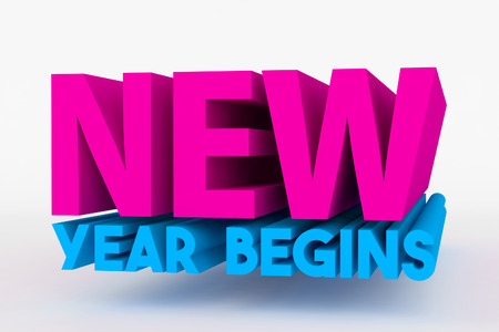 begins: Big 3D text on white background with soft shadow. new year begins in blue and pink color on white
