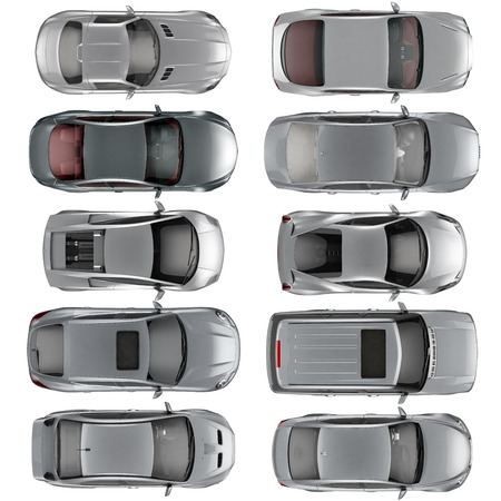 overhead: Set of Top view cars on white background, 3D illustration Stock Photo