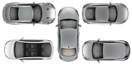 Set van Bovenaanzicht auto's op een witte achtergrond, 3D illustratie