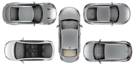 Set of Top view cars on white background, 3D illustration Stock Photo