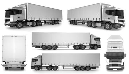 big truck: 6 x Big Truck Background - Blank mockup for design - 3D illustration