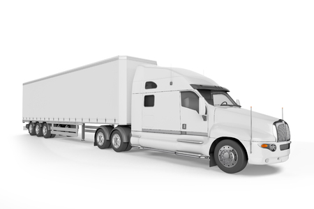 semitruck: Big Truck Trailer - on white background with soft shadows. Mock up - 3D illustration,