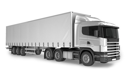 semitrailer: Big Cargo Truck on white background. Isolated on white. Place your creative on this blank background. Stock Photo