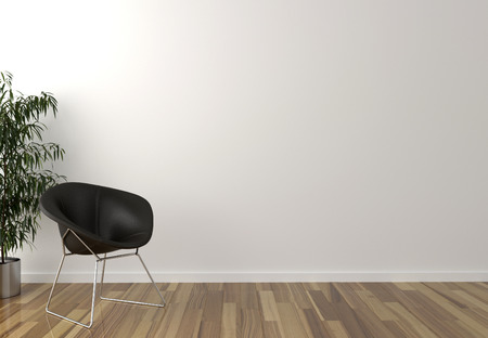 blank wall: Solo black chair, interior plant and blank wall in background - 3d render