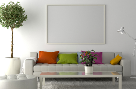 carpet floor: Carpet on the floor, sofa, interior plant and blank picture frame on the wall. 3D illustration Stock Photo