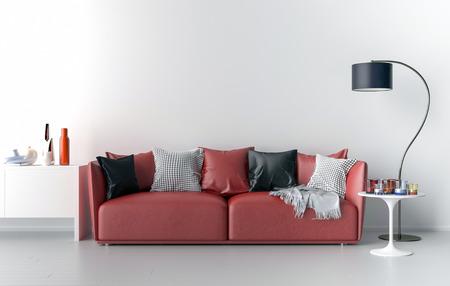 Wohnzimmer, Sofa, Lampe und Tisch. Big leere Wand im Hintergrund. Abbildung 3D.