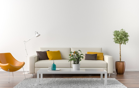 Empty living room with white wall in the background. 3D illustration