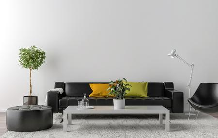 백그라운드에서 흰 벽과 함께 빈 거실. 3D 일러스트 레이션