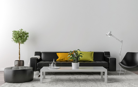 Empty living room with white wall in the background. 3D illustration Reklamní fotografie - 71222833