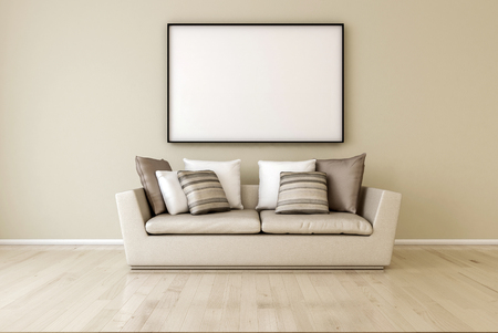 White canvas on the wall in the living room. 3d Render,  just place your creation on this empty canvas space.