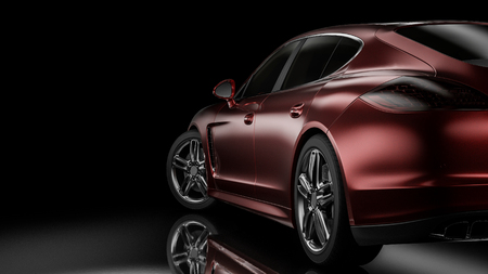 Dark background with car silhouette on right side. 3d Illustration Фото со стока