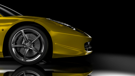 Side/front view part of the car - 3d illustration 免版税图像