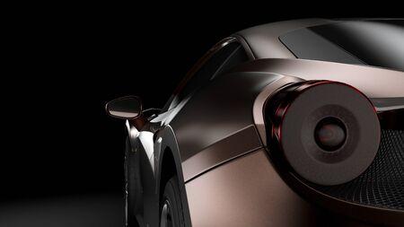 Dark background with car silhouette on right side. 3d Illustration Standard-Bild
