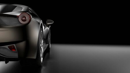 Dark background with car silhouette on the left side. 3d Illustration Standard-Bild