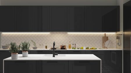 Modern Kitchen interior with light strip light on. 3D illustration Stock Photo