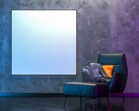 Blank picture background with modern colored lights in empty room by night. 3D render. Dimension 150 x 150 cm (white background - without border)