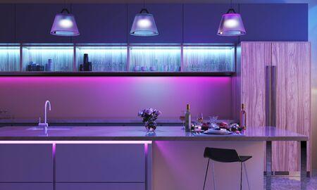 Cucina moderna con luci led colorate. Striscia luminosa in colore blu e tre lampade in colore viola. Interni Smart House - Rendering 3D Archivio Fotografico