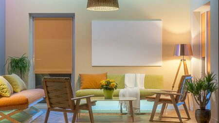 Modern Livingroom with colored led light - Picture background. 3D render Stockfoto - 132031354