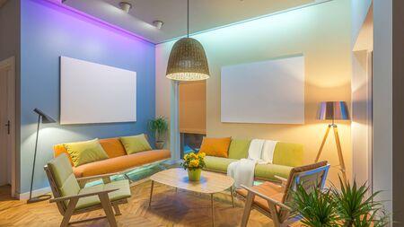 Modern Livingroom with colored led light - Picture background. 3D render