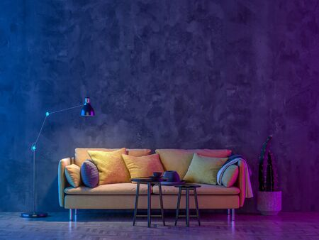 Modern Livingroom with colored led light - Wall background. 3D render Stockfoto