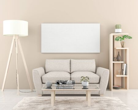 Interior wall with one big blank Canvas 180 x 90 cm. 3D render Stockfoto