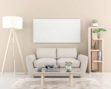 Pared interior con un gran lienzo en blanco de 180 x 90 cm. Render 3D Foto de archivo
