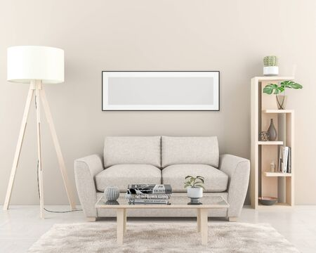Interior wall with one blank Poster dimension 157 x 53 cm. 3D render