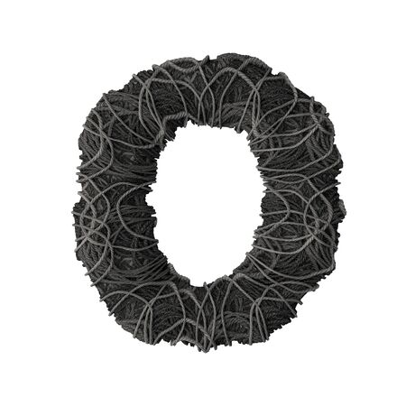 Letter O stylized in the form of a rope pile - 3D render