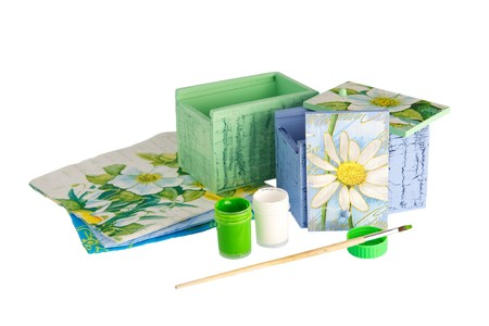 craft materials: Painted and decorated wooden box and paint