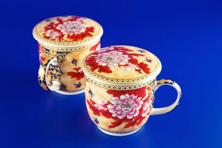 tea breaks: Tea cups on a blue background