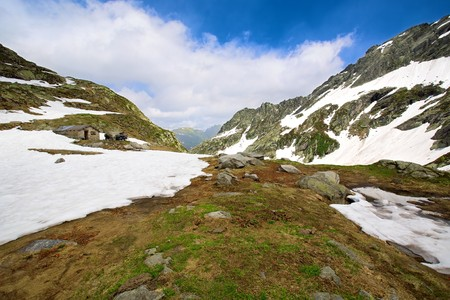 Mountain top cover with snow in Val Lavizzara, Vallemaggia,Ticino (Tessin), Switzerland Stock Photo - 7411611