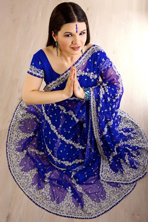 Indian woman with a beautiful blue sari photo