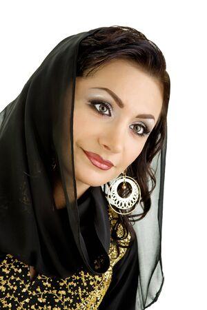 middle eastern clothing: Donna araba isolata su uno sfondo bianco  Archivio Fotografico