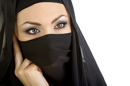 piercing: Arab woman isolated on a white background