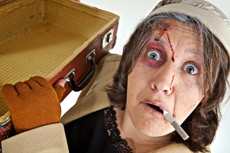 old beggar: Portrait a woman with theater make-up Stock Photo