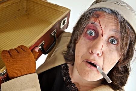 mujer fea: Retrato de una mujer con maquillaje de teatro  Foto de archivo