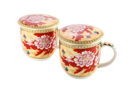 tea breaks: Tea cups on a white background