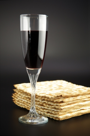 Jewish religious feast Passover traditional food Matza and red wine photo