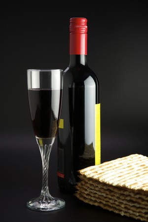 the feast of the passover: Jewish religious feast Passover traditional food Matza and red wine Stock Photo