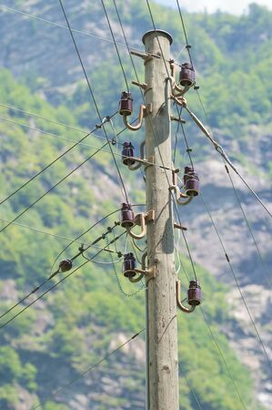 Wooden electric pole photo