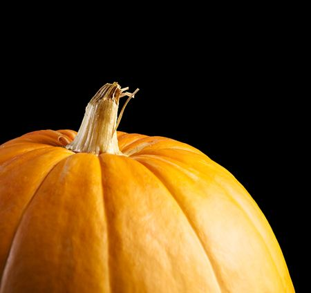 Single fresh pumpkin on black background Stock Photo - 8001677