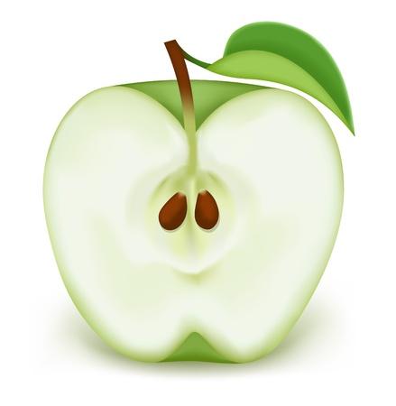 La moitié d'une pomme verte sur un fond blanc
