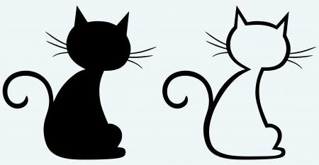silhouette gatto: Cat silhouette nera Vettoriali