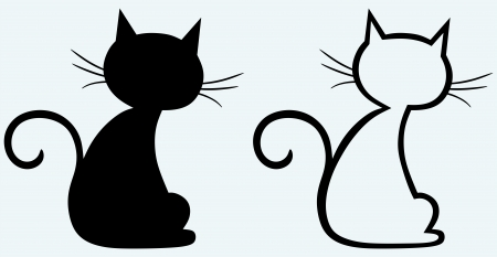 La silueta del gato negro Foto de archivo - 14331459