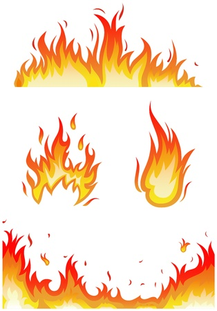 flames vector: Vector set: fire flames - collage