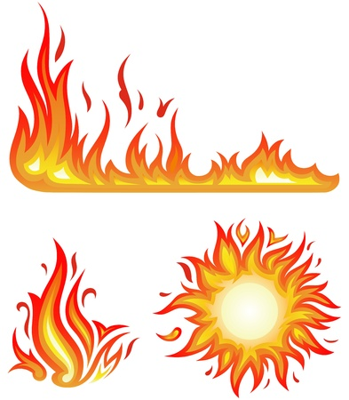 burning: Vector set  fire flames - collage