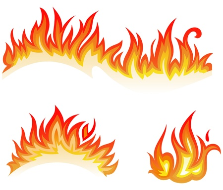 orange inferno: Vector set  fire flames - collage