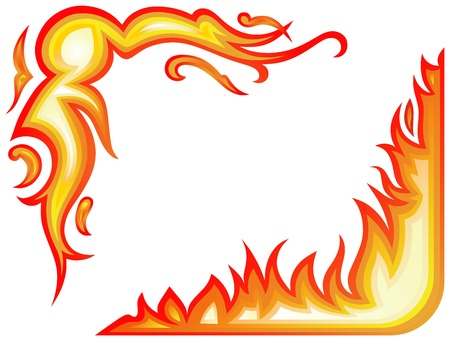 symbol flammable: Vector set  fire flames - collage